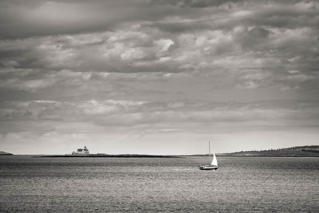 Lighthouse and Sailboat, from Reid State Park, 2014